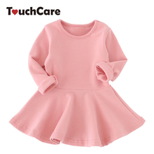 Spring Autumn Candy Color Cotton Baby Girl Dresses Long Sleeve Solid Princess Dress Bow-knot O-neck Casual Kids Pleated Dresses(China)