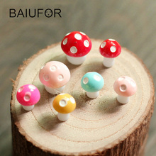 BAIUFOR 10 pcs/lot Colorful Mushrooms Fairy Garden Miniatures Terrarium Figurines Dollhouses Home Decoration Accessories Crafts(China)