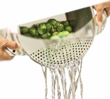 "Lecook New Stainless Steel Pan Pot Drainer Strainer Colander With Handle For Spaghetti Draining Liquids Sieve Fit Up To 10"" Pots"