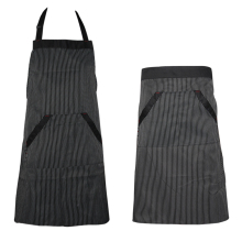 Universal Unisex Stripe Bib Aprons Kitchen Cooking Hotel Chef Aprons Uniforms Waist Short Apron Waiter Apron with Double Pockets