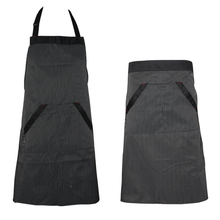 Universal Unisex Stripe Bib Aprons Kitchen Cooking Hotel Chef Aprons Uniforms Waist Short Apron Waiter Apron with Double Pockets(China)