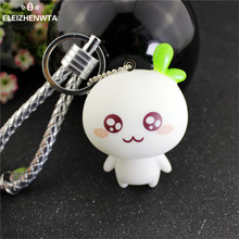Cartoon bud Doll Keychain Keyring Leather Rope Car Key Chain Bag Pendant Keyring Women Mens Kawaii Valentine Best Gift Chaveiro