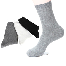 5 Pairs Men Sock Business Casual Fashion Solid Color Black Grey Bamboo Fiber Men Socks Deodorant Anti-bacterial Sock Meias Crew(China)