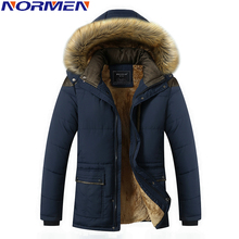 NORMEN Men's Casual Parkas with Fur Hooded for -25 Solid Fleece Padded Winter Jacket Men Long Style Plus Size Overcoat Drop Ship(China)