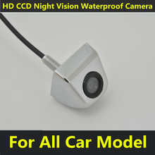 Universal Car Rear View Camera Mini Waterproof Parking Assistance Reversing Silver Color HD CCD Wire Rearview Reverse Reversing(China)