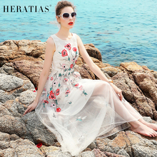 Stylish sexy sleeveless summer new Floral embroidered gauze white Bohemia casual Dresses placed elegant long dress  waist slim