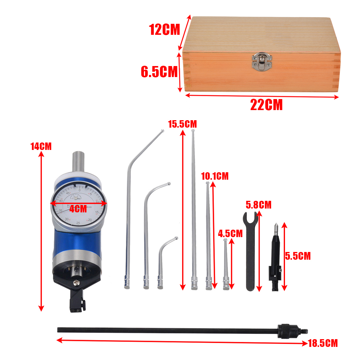 1 Set Coaxial Centering Dial Test Indicator Center Finder Milling Tool 0.01mm Accuracy with Wooden Box  Measuring Tools 140x40mm