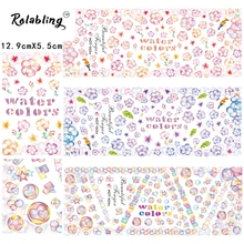 2017 New Arrival Alive Beautiful Flower Series Nail Sticker Decorate Fingernails Water Transfer Paper Paint Nail