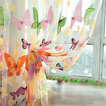 Hot Butterfly Sheer Curtain Organza Child Window Balcony Tulle Curtains for Living Room Home Decor Curtain Free Shipping N846