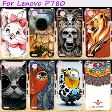 Hard Plastic&Soft TPU Silicones Phone Cover For Lenovo P780 P 780 Cases Cool Skull Loving Minions Flower Accessories Hood