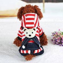 2017 High Quality Striped Cowboy Trousers Pet Clothes Teddy Autumn And Winter Cowboy Dress Pet Dog Clothing