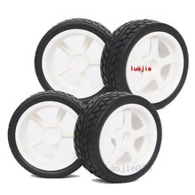 1020-8004 4PCS RC 1/10 1:10 On Road Model Car Tires Rubber Sponge Speed Liner Tire Tyre Wheel Rim HOBBY(China)