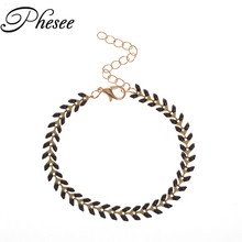 Phesee Vintage 3 Color Oil Drop Leaves Bracelets Bohemian Jewelry For Woman Bracelets & Bangles Party Jewelry(China)