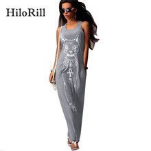 HiloRill Cat Print Long Maxi Dress Women 2017 Summer Boho Beach Bodycon Dress Elegant Evening Party Dresses Tunic Vestidos S-XL(China)