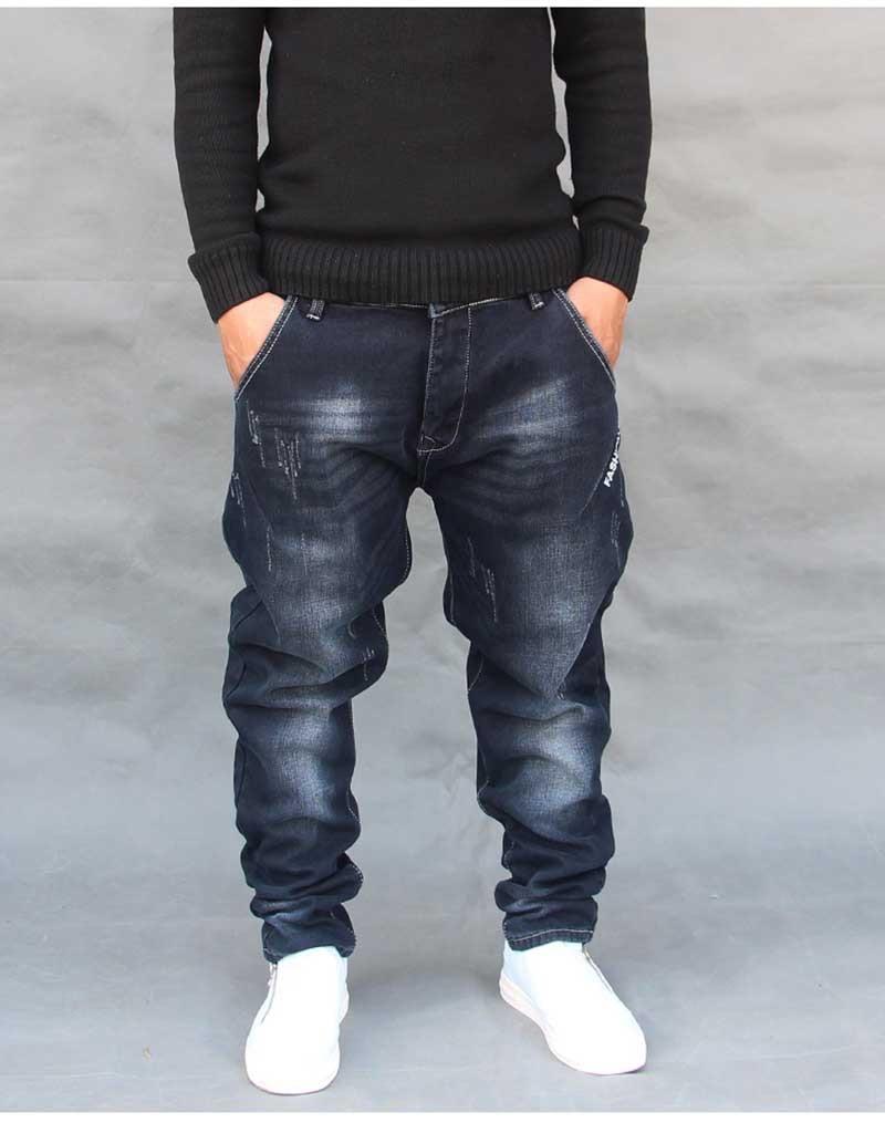 Compre Moda Hip Hop Harem Jeans Mens Jogger Pants Jeans De Algodón ... f8b8e52bbe27