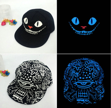 Novelty Lighting Snapback Baseball Lamp Luminous Printing Glow Toys HipHop Dance Party Cap Hats Adjustable Unisex for Men Women(China)