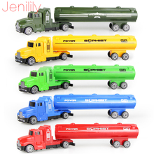 Jenilily 5 colors oil tank truck Die cast Car alloy truck with Plastic Engineering car model Toy Classic Toy Mini gift for child