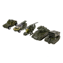 5pcs/Set 1:64 Model Tank Truck Helicopter Toy Plastic Camouflage Color Military Truck Car Model Kids Children Toy(China)