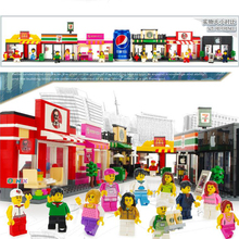 City blocks, coffee shops, convenience stores, fast food restaurants, mobile phones, digital stores Block Model Kids Bricks Toys(China)