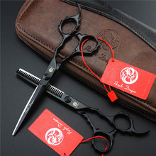 Black Japanese Stainless Steel Haircut Set Barber Scissors Scissors Thinning For Hairdressers Scissors Hair Professional 6''(China)