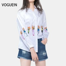 VOGUE!N New Womens Spring Fox Print White Long Sleeve Button Down Shirt Blouse Tops Wholesale Size SML