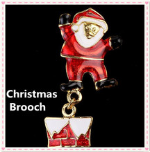 2017 beautiful Christmas style chimney Santa Claus breastpin jewelry brooch pin festival alloy decoration,OCB009