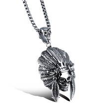 Cool King Domineering Indian Skull Necklace Men, 316L Titanium Chain Pendant Necklaces, Long Neckless Woman Men Jewelry