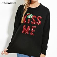 KISS ME Sequin Christmas Snowman Santa Claus Winter Sweater Long Sleeve Round Neck Party Club Pullover Sweater for Women Ladis