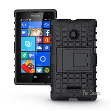 For Microsoft Nokia Lumia 532 Case Hybrid Kickstand Rugged Rubber Armor Hard PC+TPU 2 In 1 With Stand Function Cover Cases(China)