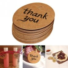 100pcs/lot Candy paper tags Thank You love Hand Made Gift Tags Kraft Label Sticker Diameter For DIY Gift /Cake