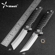 KKWOLF Ball Bearing Flipper Tactical folding knife D2 steel blade outdoor survival pocket knife EDC multi hunting rescue tools