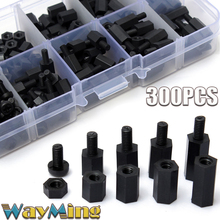 New 300Pcs/Lot M-F Hex Spacers Screw Nut Assortment Kit White Nylon M3 Accessory Stand Off Bolt Set Hardware Fastener