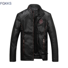 FGKKS Brand New Leather Jackets Men Jaqueta De Couro Masculina Avirex Leather Jacket Inverno Couro Mens Stand Collar Jacket(China)