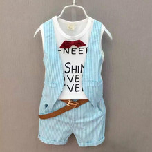 Boy clothing set child boys summer clothes set faux two piece t-shirt vest plaid school clothes [ Tops + Shorts + Belt + Bow](China)