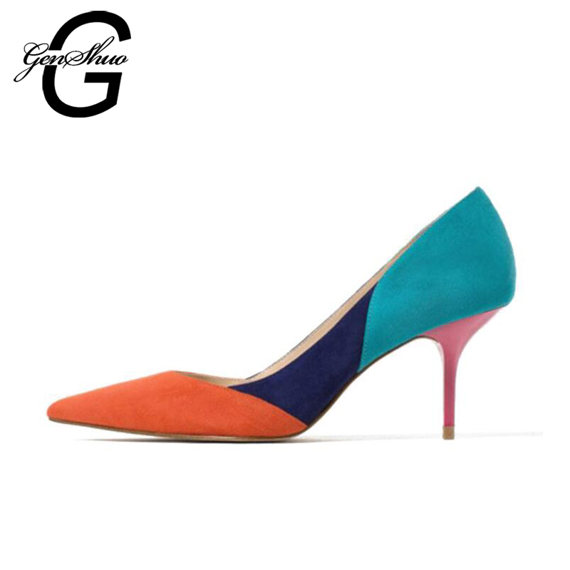 GENSHUO 2018 Mix Color Pointed Toe Thin High Heels Woman Shoes Suede 7CM Summer Casual Female Simple Womens Pumps Small Size 4<br>