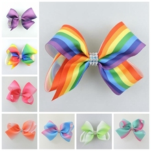 6pcs 11cm center Jeweled Pastel flora ombre ribbon hair bows Alligator clips Rainbow Striped hair ties Accessories HD3477