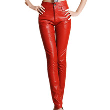 New Arrivals 2017 Autumn Winter Women Pu Leather pants, high waist Solid formal Long Leather Trousers  red/black