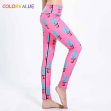 Buy Colorvalue Cactus Printed Yoga Pants Women Stretchy Fitness Tights Gym Leggings Quick Dry Elastic Waist Sport Workout Leggings for $17.73 in AliExpress store