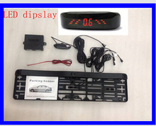 European Car Reversing License Plate Parking Sensor with LED Display with 3 sensor frame parking aids detector system(China)