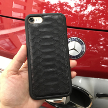 Natural Real Genuine Leather Cover Case For iPhone X 8 7 Plus Case 3D Python Skin Snake Design custom name Phone Case(China)