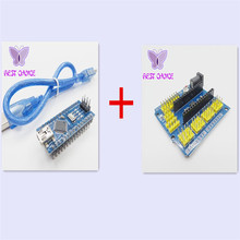 Free shipping Terminal Adapter for arduino nano V3.0 ATMEGA328P +1pcs NANO Shield Expansion Board for Electric DIY SCM+USB cable(China)