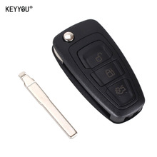 KEYYOU 3 Buttons Flip Folding Remote Key Shell for Ford Focus Fiesta 2013 Fob Case with HU101 Blade With Logo
