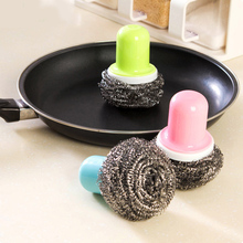 Kitchen handle handle dishwasher wipe wire ball brush pot brush stainless steel clean ball pot brush(China)