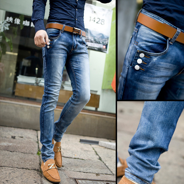 New Spring 2017 Men S Fashion Wear White Washed Blue Denim Trousers Trend Slim Stretch Skinny Jeans