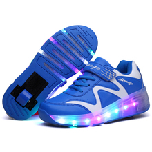 Children Wheel Shoes Boy & Girls LED Lamp Skating Shoes Kids Invisible Automatic Pulley Flash Roller Skates Sneakers(China)