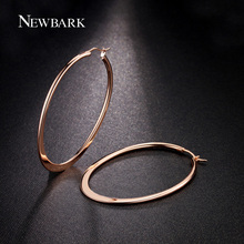 NEWBARK Rose Gold Color Huge Oval Hoop Earrings Basket Ball Wives Earring Jewelry For Valentine's Day Party(China)