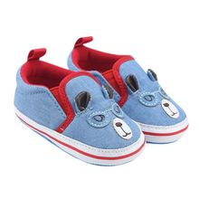 2017 Soft Non-Slip Soled Cowboy Blue Baby Boy Shoes Slip-on First Walkers Boots Cute Animal Picture Relief 0-18M Baby Boy Shoes