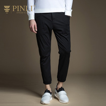 2016 New Arrival Fashion Skinny Bamboo Fiber Military Pinli 2017 New Spring Men's Slim Pants Knitted Trousers B171117049 Feet(China)