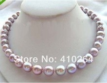 "$wholesale_jewelry_wig$ free shipping 18"" Natural 12mm Round Lavender Pearl Necklace Zircon (China)"