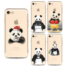 Lovely Kung Fu Panda phone Cases For Iphone 6 6s 6Plus 7 7plus Soft Clear TPU Silicon Ultra-Thin Ink painting Phone Cover Case(China)